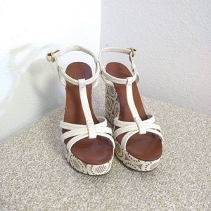 Tory Burch Ivory Leather Wedge Sandals
